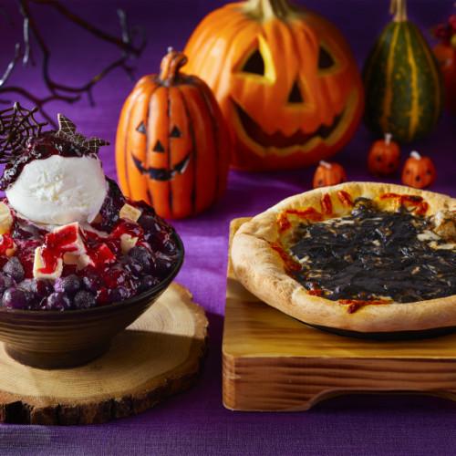 ハロウィン仕様の「ブルーベリーチーズソルビン」とイカ墨入「チーズピザトッポギ」