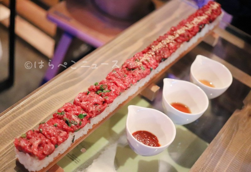 【実食レポ】50cmの和牛ユッケ寿司をPALLET パレット46で!新大久保で韓国の人気料理「特大ユッケ寿司」