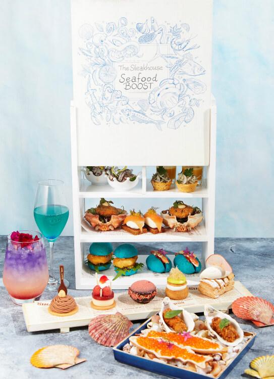 【シーフードブースト】ANAでアフタヌーンティー風の新感覚メニュー!蟹肉のホットドッグにイカ墨コロッケ!